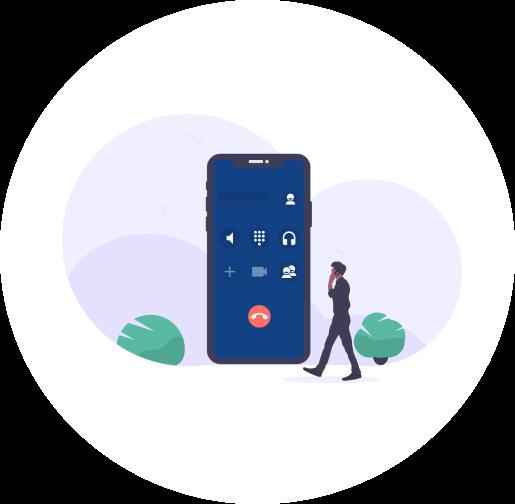 Mann der telefoniert und ein groes Handy im Hintergund